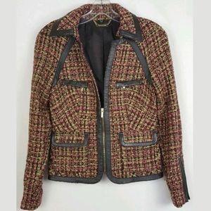 Bebe Pink Tweed Faux Leather Zip Up Moto Jacket/6